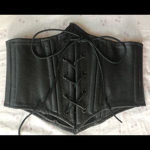 Genuine Leather Laced Corset Waist Belt